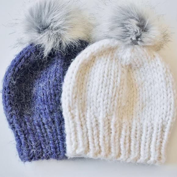 Handmade knit baby hats